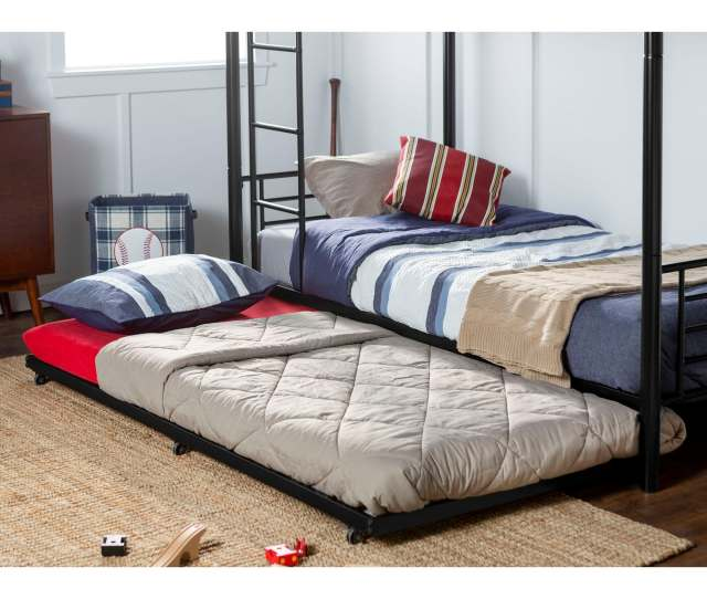 Taylor Olive Abner Metal Roll Out Twin Trundle Bed Frame Black