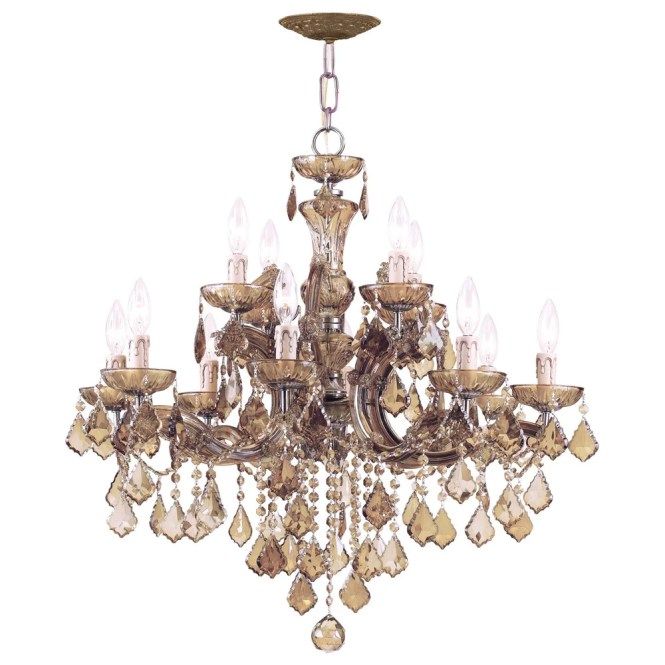 Crystorama Maria Theresa Collection 12 Light Antique Brass Chandelier Free Shipping Today 14668516