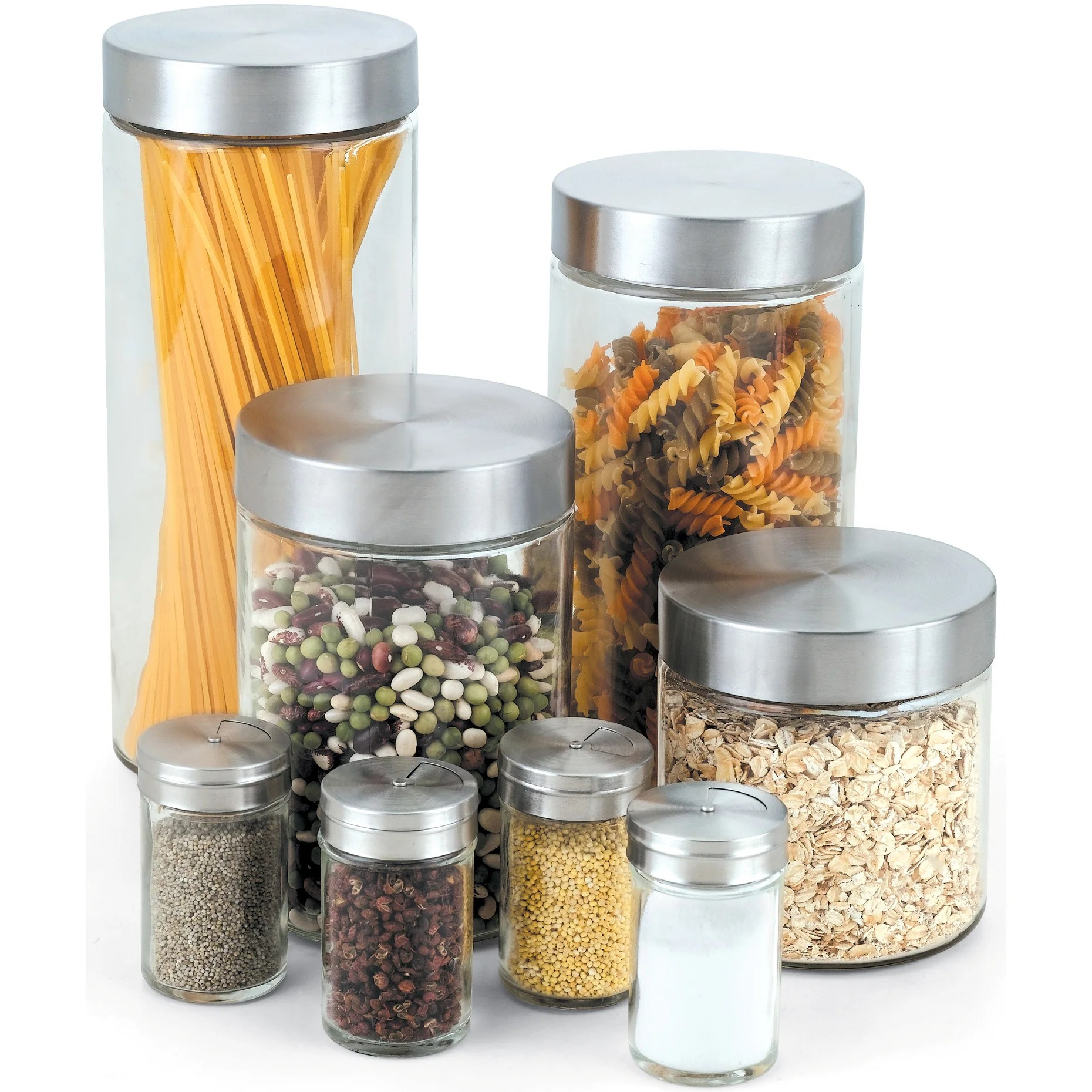 cook n home 8 piece glass canister and spice jar set with lids free shipping on orders over 45 overstock 14780700