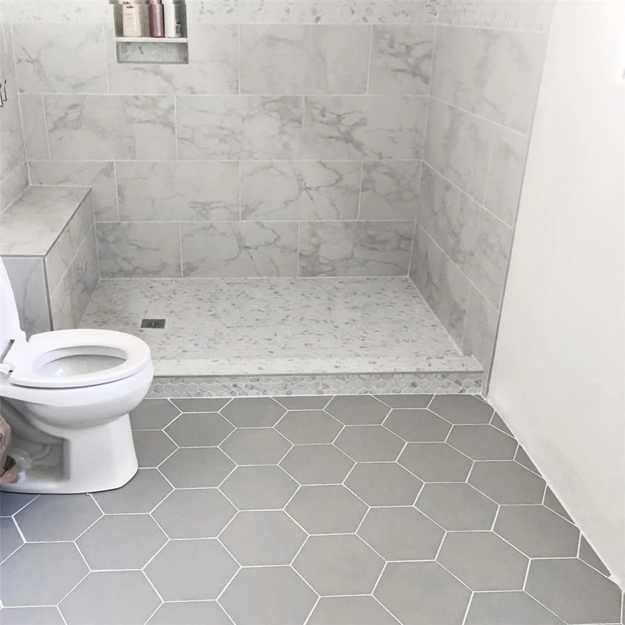 somertile 8 625x9 875 inch textilis silver hex porcelain floor and wall tile