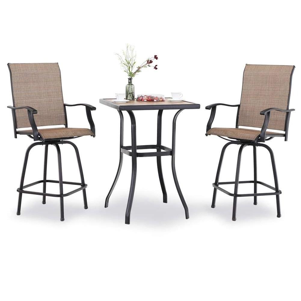 3 pc swivel bar stools set bar height bistro sets outdoor