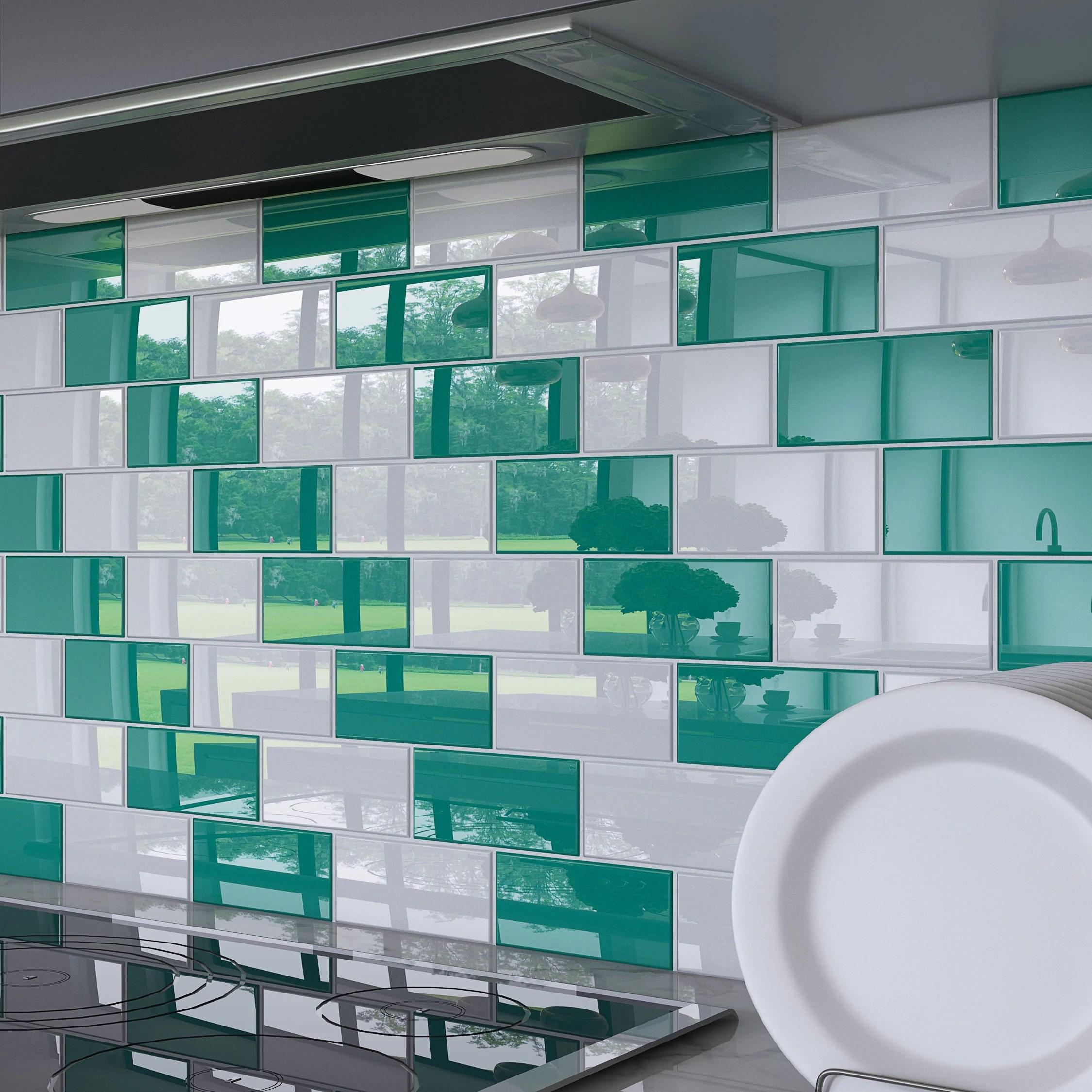 emerald green 3x6 glass subway tile