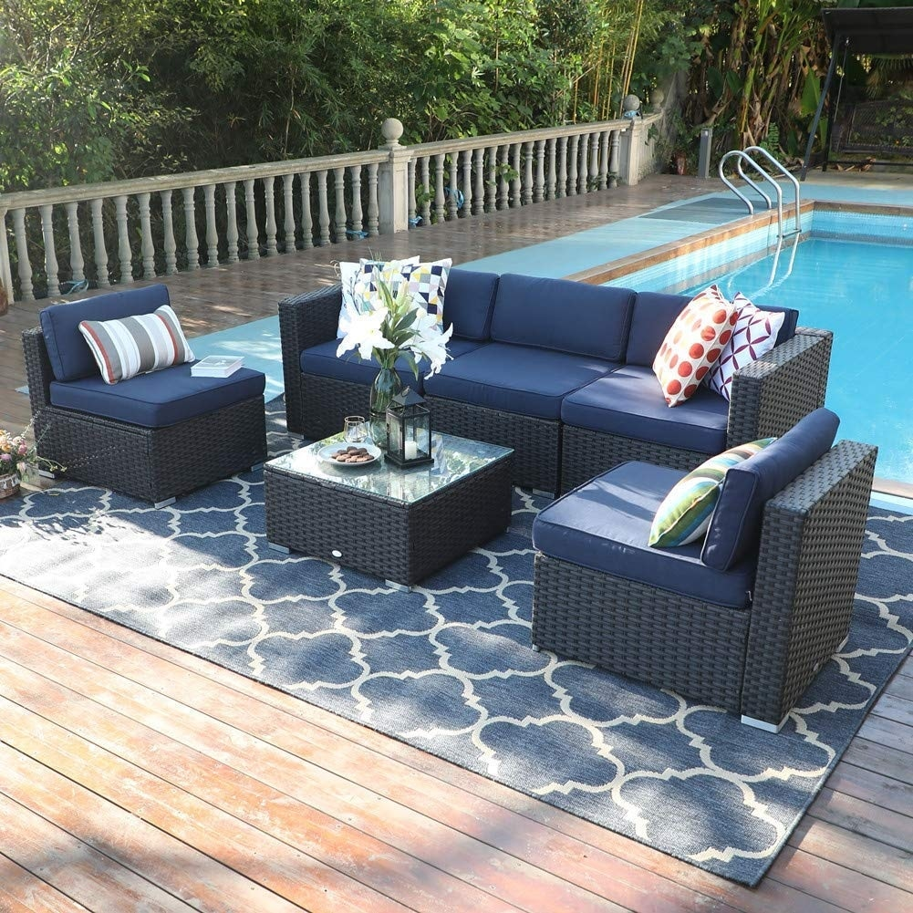 phi villa 6 piece outdoor rattan sectional sofa set with durable and classic rattan