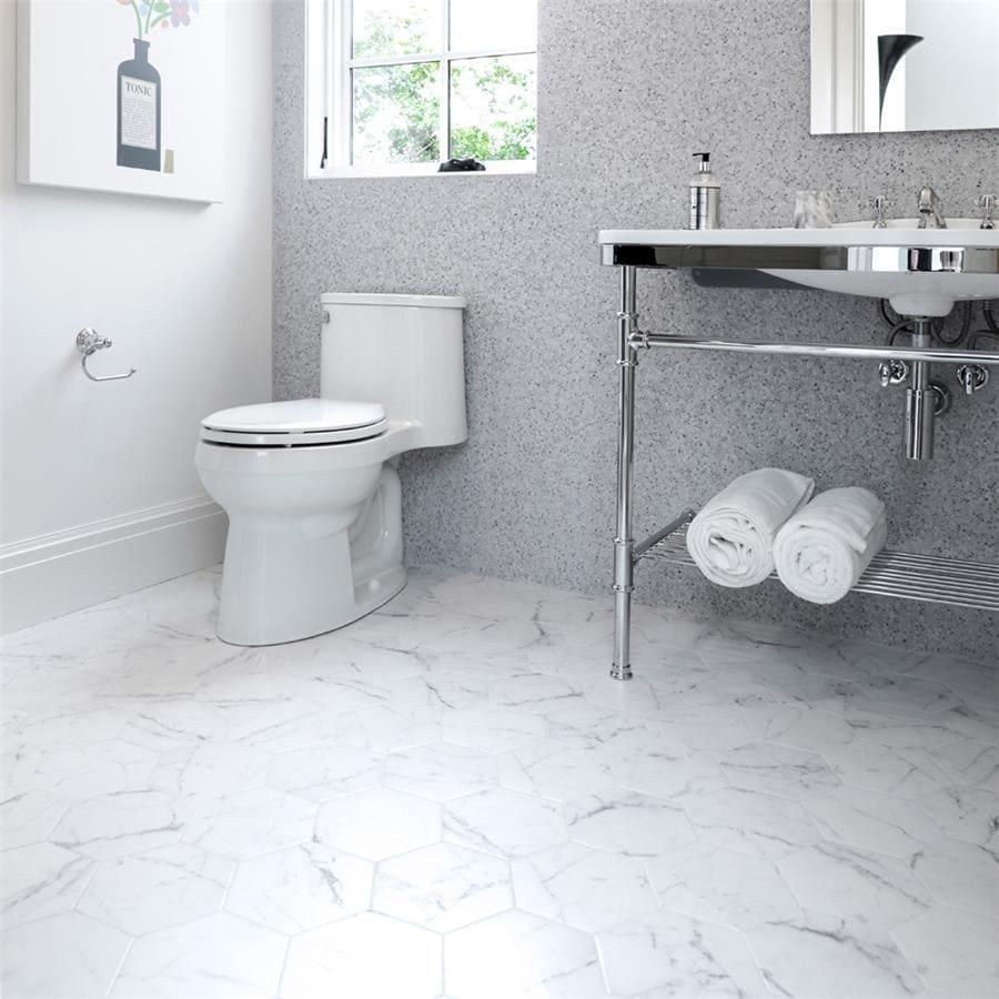 somertile 7x8 inch carra carrara hexagon porcelain floor and wall tile