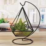 Circleware Hanging Glass Terrarium With Stand Black Geometric Pyramid Shaped Holder For Succulents And Air Plants Overstock 22311707