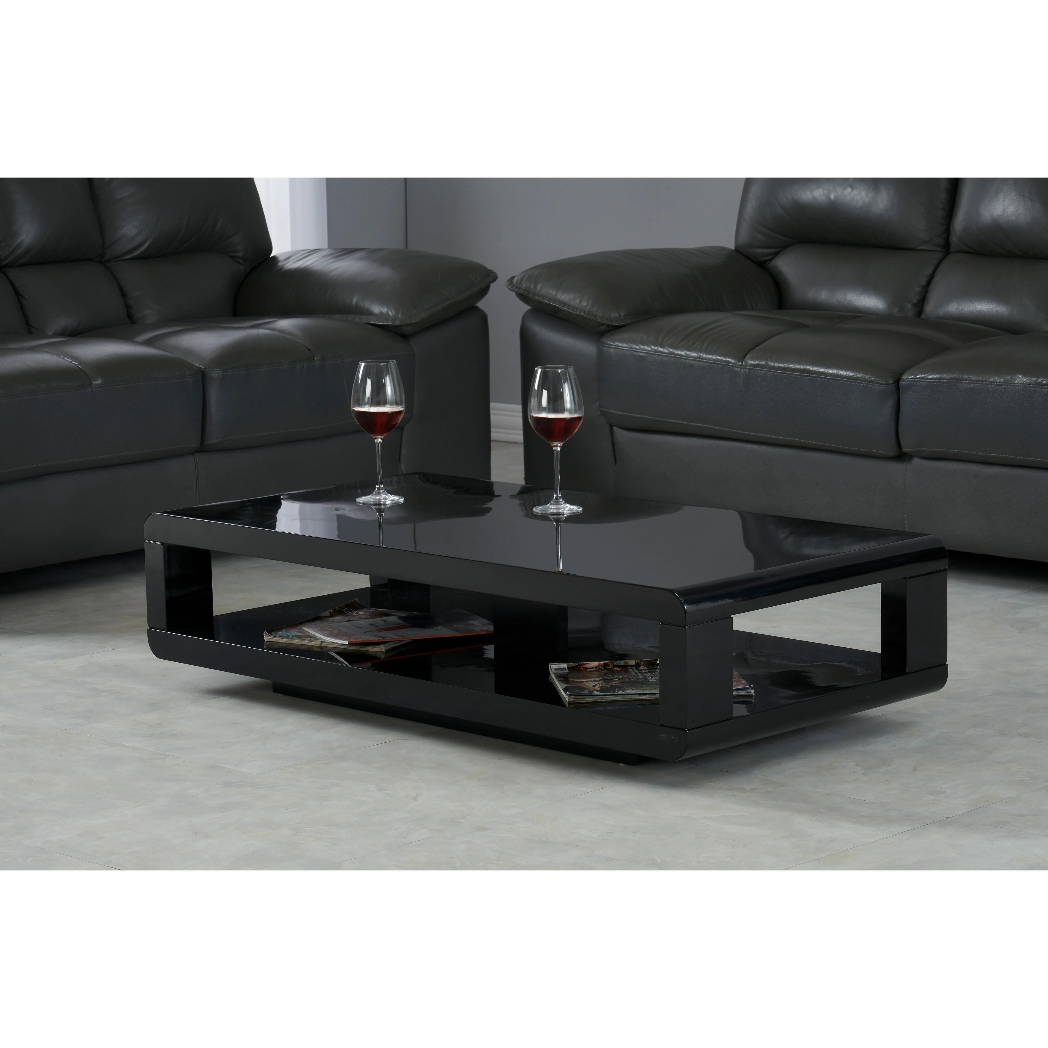 artiva casa modern lacquer coffee table glossy black 48 x24 x12 h