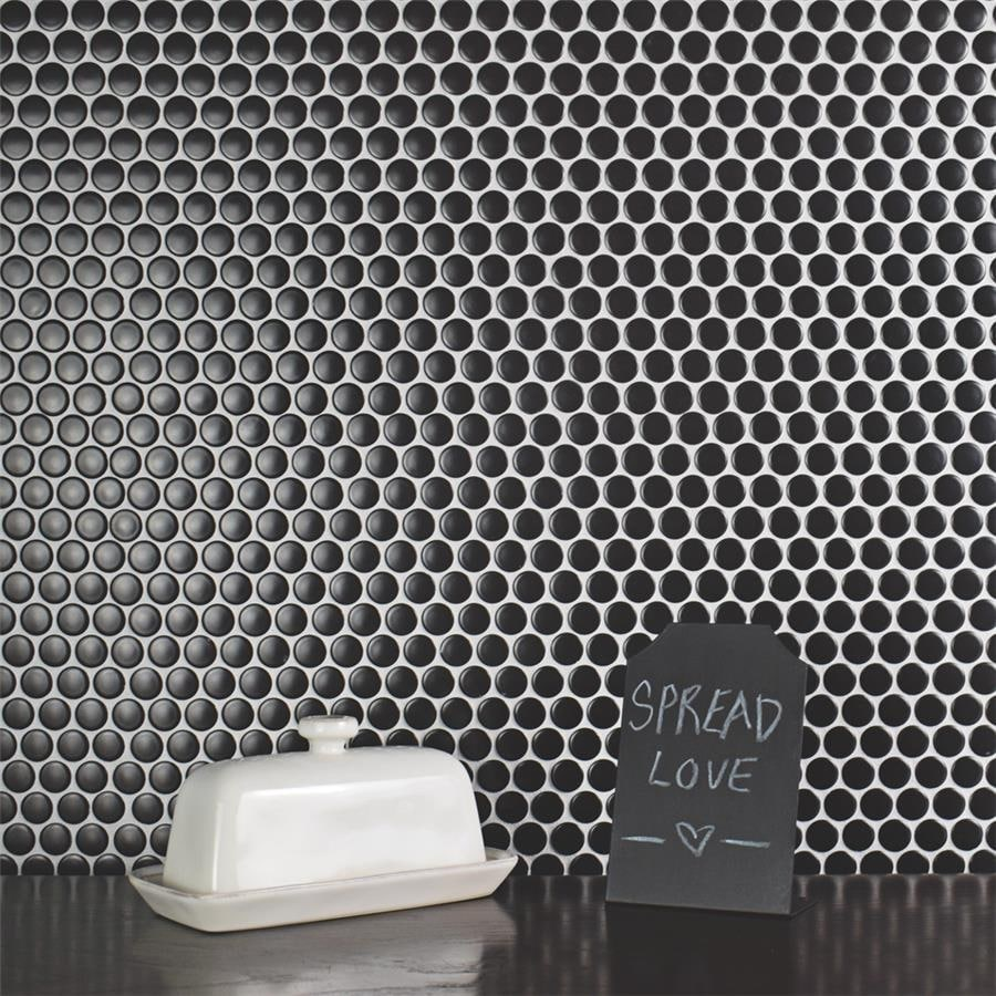 somertile 12x12 625 inch penny matte black porcelain mosaic floor and wall tile
