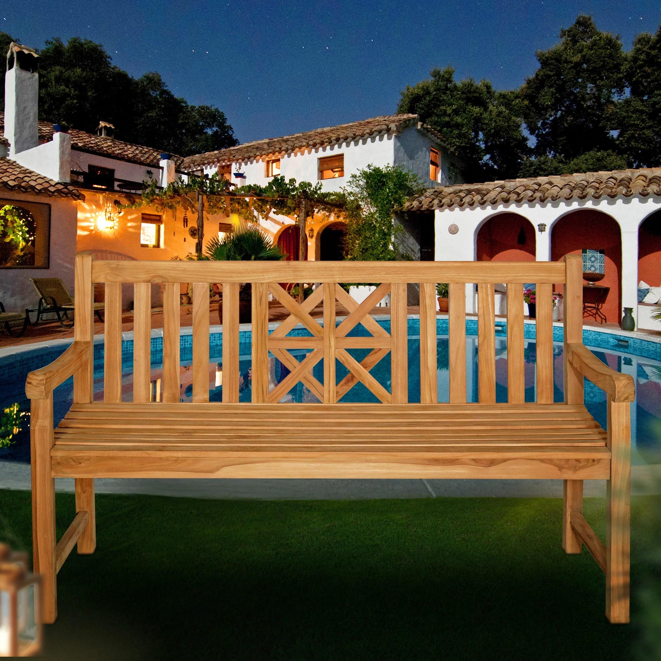 seven seas teak arizona teak wood outdoor patio bench 5 foot