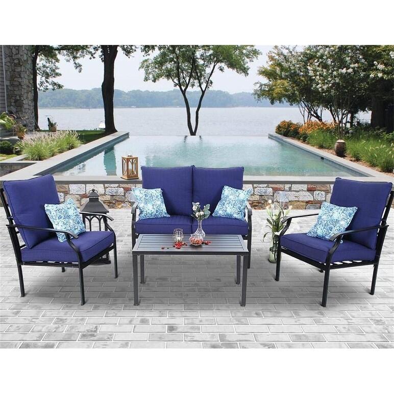 phi villa 4 pc outdoor patio furniture padded deep seating conversation set