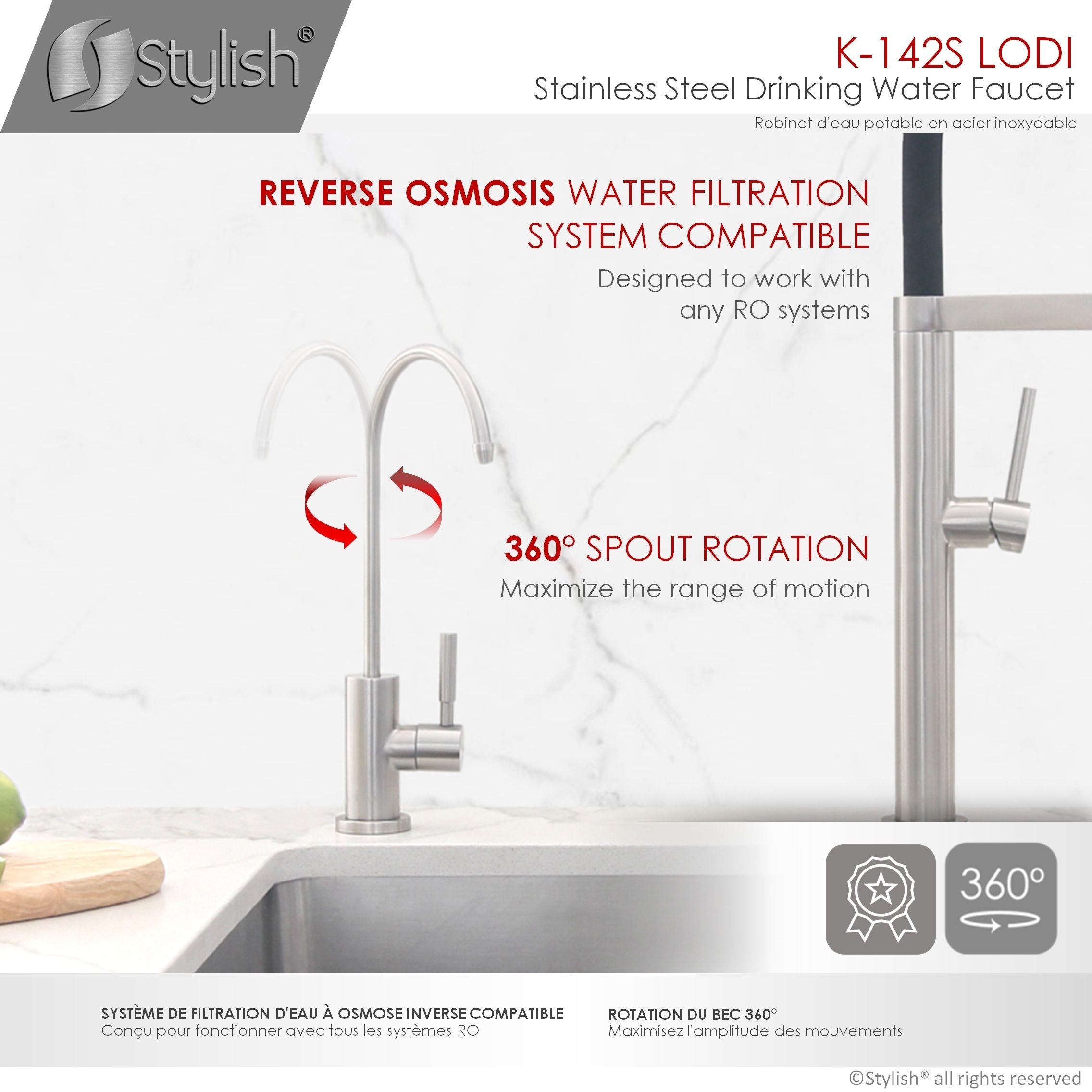 kitchen sink drinking water faucet commercial water filtration faucet stainless steel contemporary style high spout