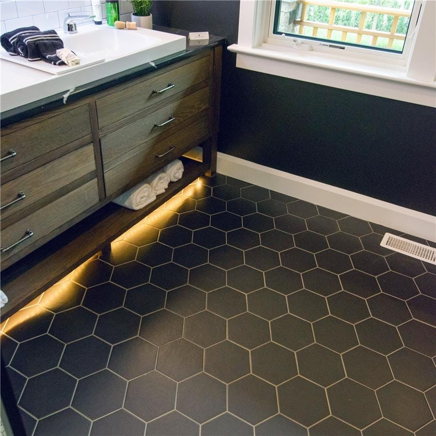 somertile 7x8 inch hextile matte nero porcelain floor and wall tile