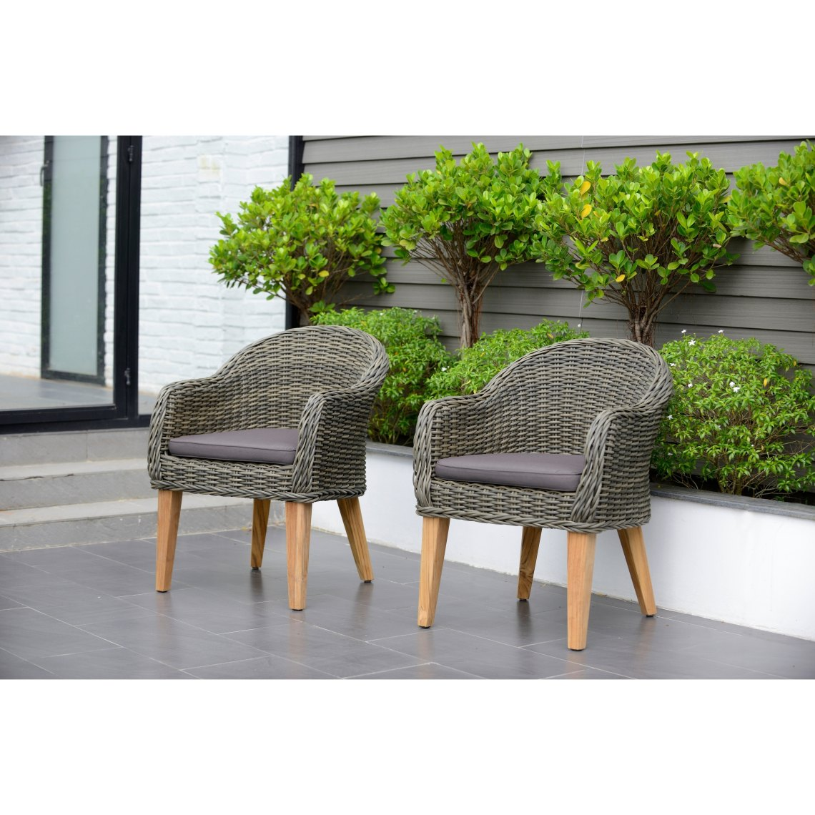Amazonia Teak Sumay Wicker Teak Patio Armchair Set With Brown Cushions Set Of