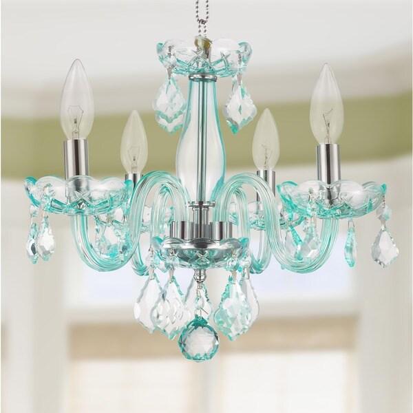 Kids Room Glamorous 4 Light Full Lead Turquoise Blue Crystal Chandelier