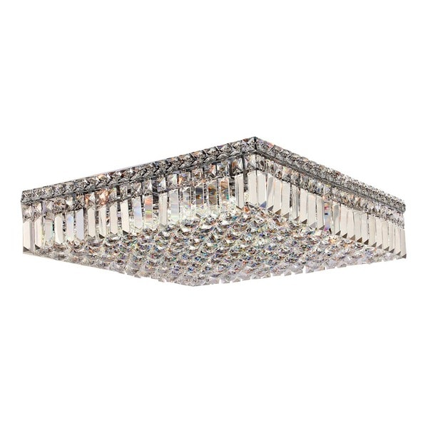Glam Art Deco Style 12 Light Crystal Chrome Finish 20 Inch Square Large Flush