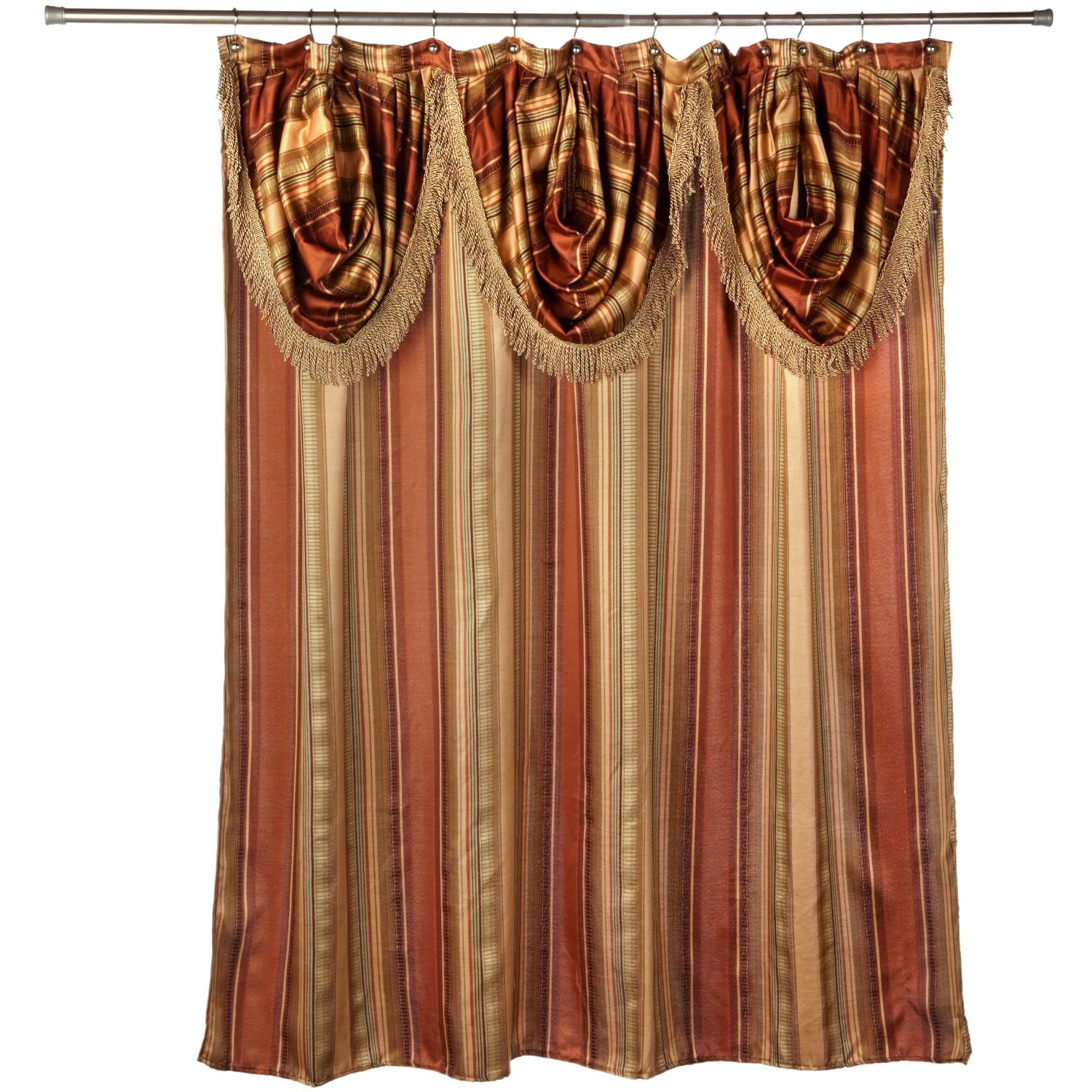 Ultra Modern Shower Curtain With Valance And Hooks Set Or Separates