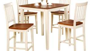 Buttermilk And Cherry Square Pub Table And 4 Kitchen
