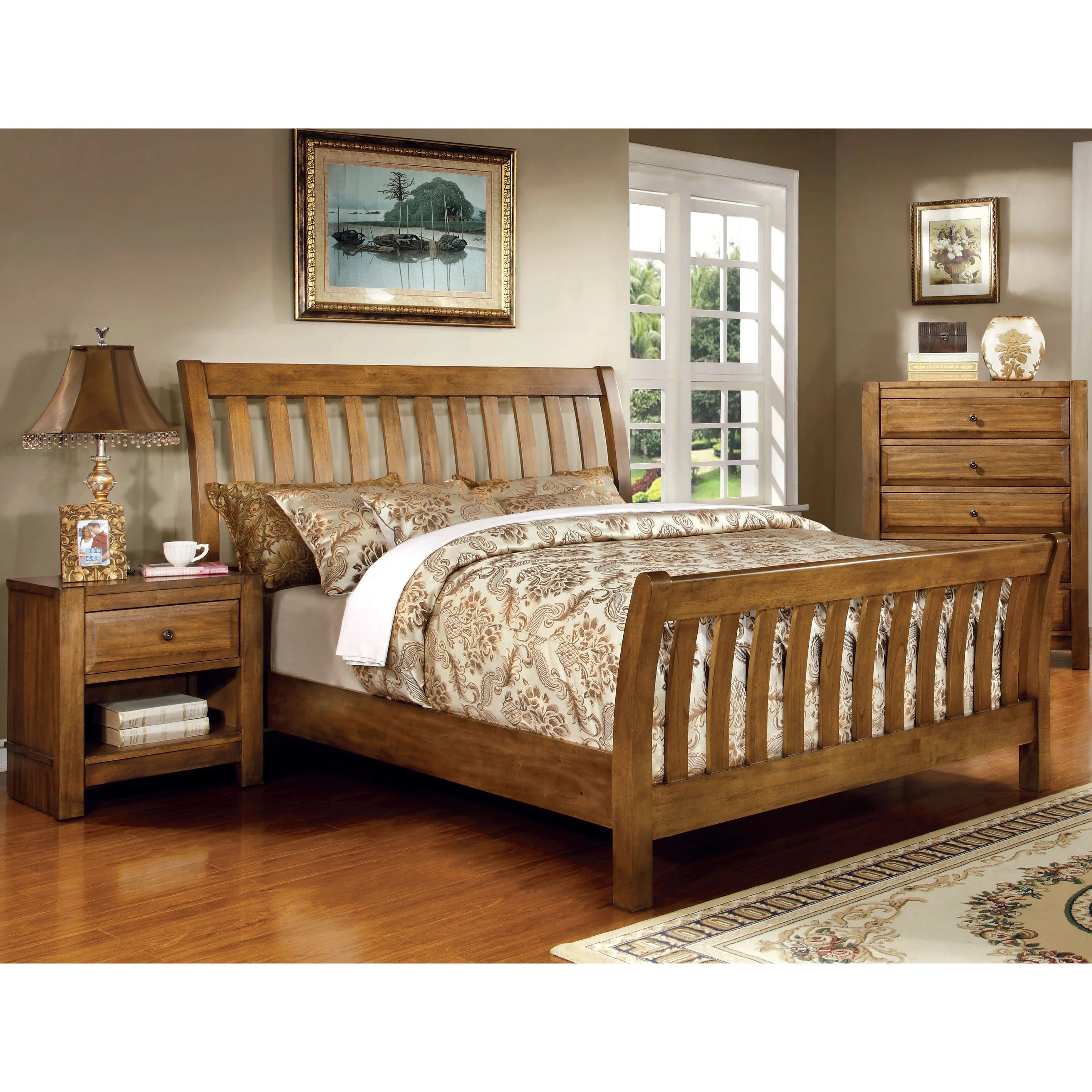 furniture of america dimare country style 3 piece rustic oak bedroom set