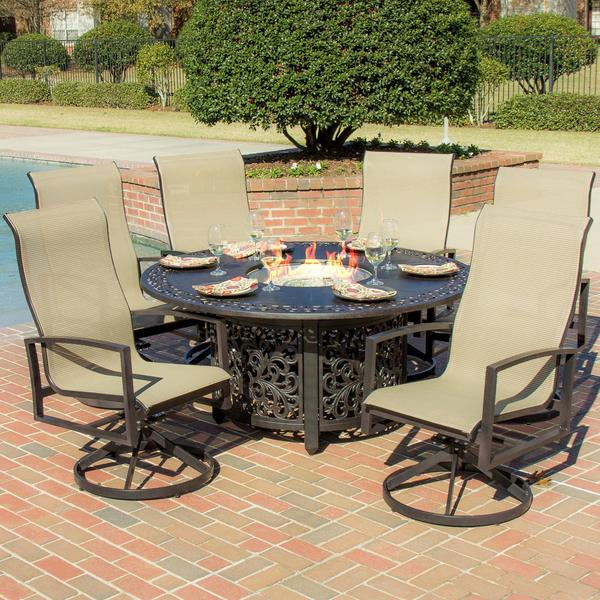 Shop Acadia 6-person Sling Patio Dining Set with Fire Pit ... on Outdoor Dining Tables With Fire Pit id=78646