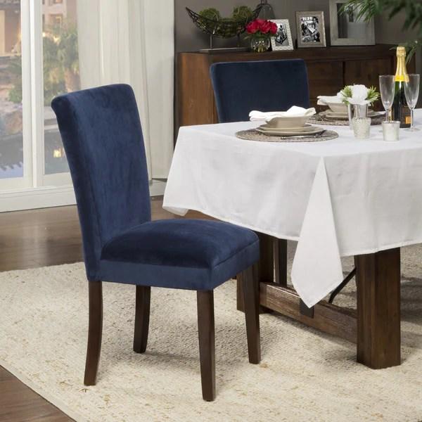 homepop classic velvet parsons dining chair dark navy blue velvet set of 2