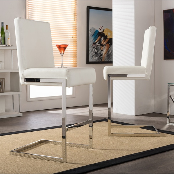 Shop Modern White Faux Leather 21 Counter Stool By Baxton Studio Free Shipping Today