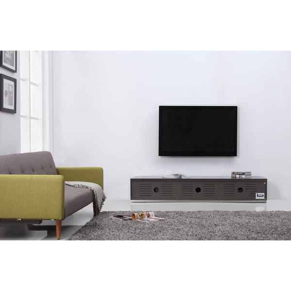 Shop B Modern Producer Grey Black Steel Modern Tv Stand With Ir Glass Overstock 10366710