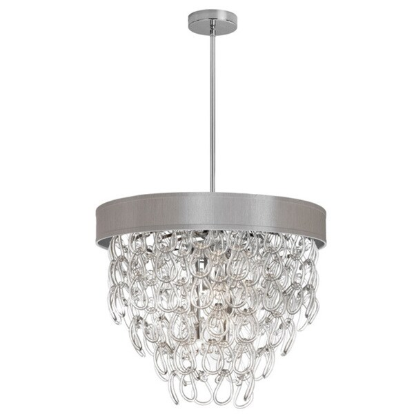 Dainolite 6 Light Glass Loop Chandelier In Polished Chrome Finish Pebble Shade