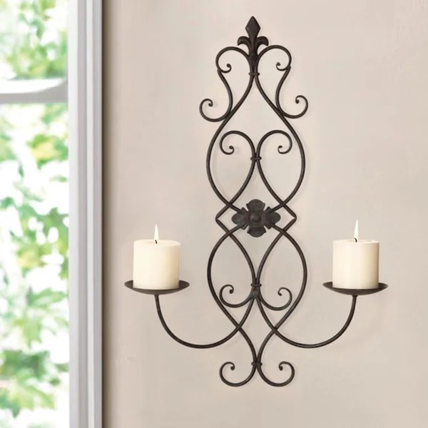 Shop Adeco Iron and Glass Vertical Wall Hanging Candle ... on Wall Mounted Candle Sconce id=58156