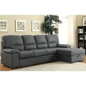 Buy Sectional Sofas Online at Overstock com   Our Best Living Room     Furniture of America Delton Contemporary Faux Nubuck Sleeper Sectional