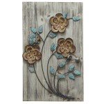 Details About Wall Art Panel Decor Flower Floral Rustic Home Sculpture Grey Blue Brown New