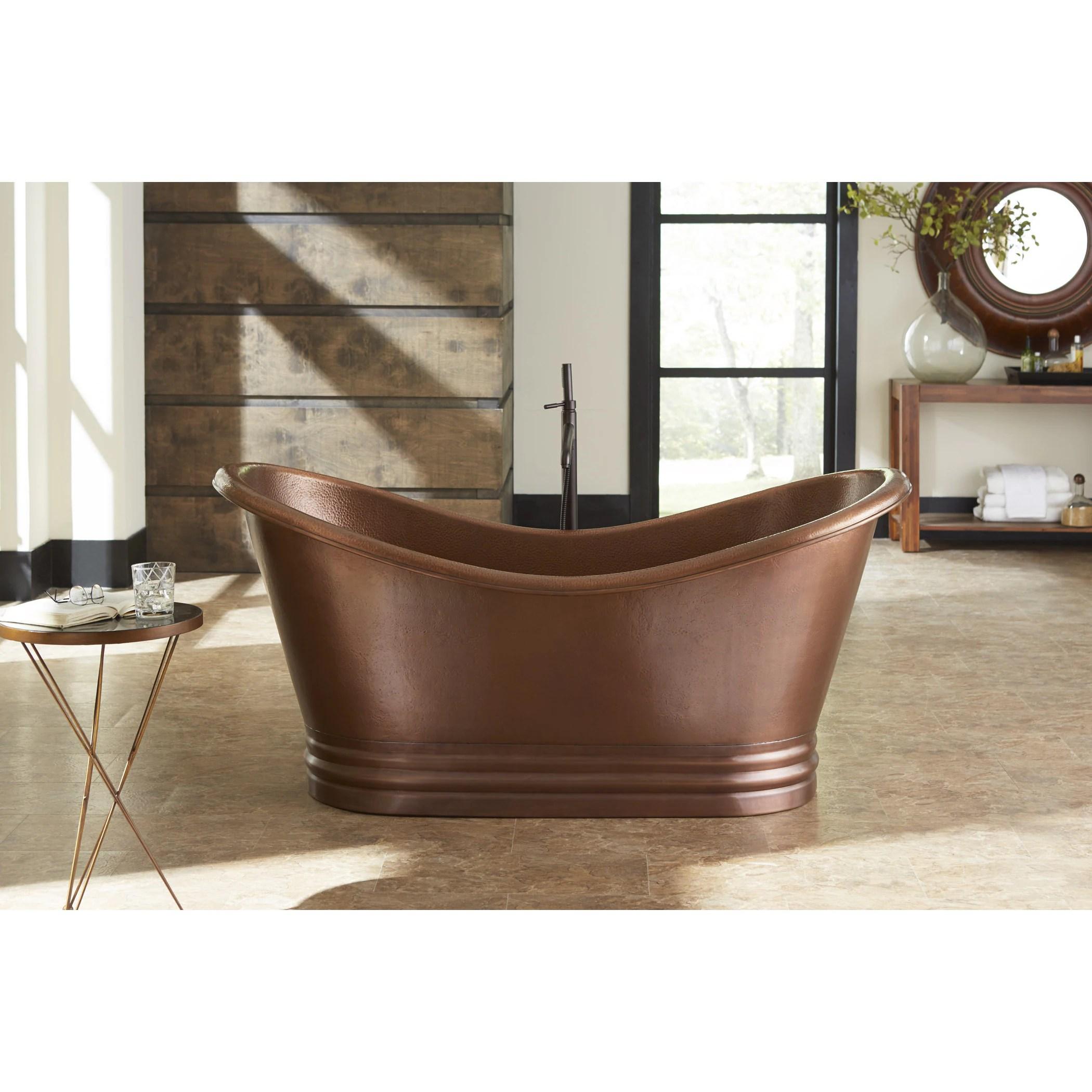 Shop Black Friday Deals On Sinkology Euclid Freestanding Bathtub 6 Foot Handmade Antique Copper Bathtub W Overflow Overstock 10561383