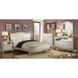 Buy Full Size Bedroom Sets Online at Overstock com   Our Best     Silver Orchid Gerrard Modern 4 piece Crocodile Silver Bedroom Set