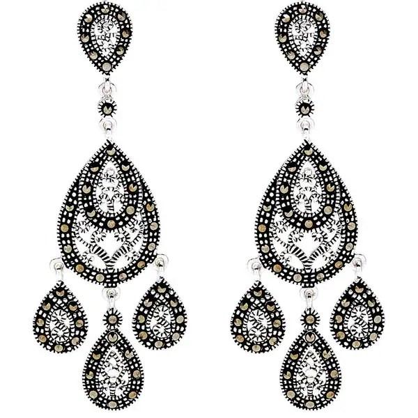 Silverplated Marcasite Chandelier Earrings