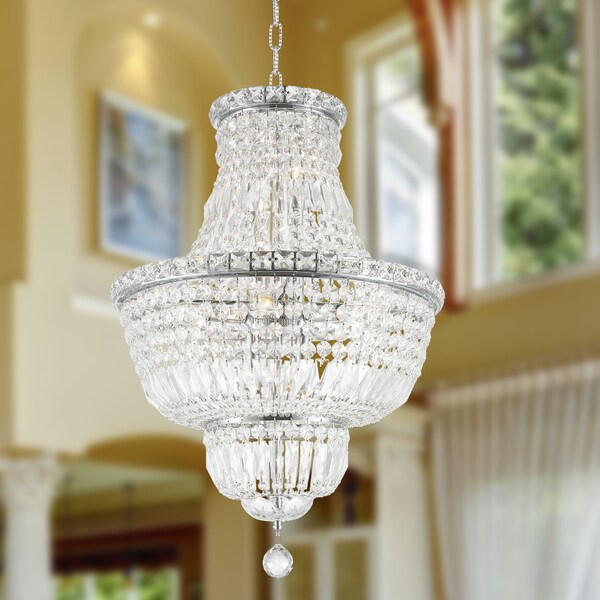 French Empire Collection 12 Light Chrome Finish And Clear Crystal Chandelier 18