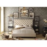 Moser Bay Furniture Calia Beige Tufted Upholstery Queen Platform Bed Overstock 10596422
