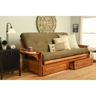 Somette Ali Phonics Honey Oak Full Size Futon Set With Suede Mattress And Storage Drawers