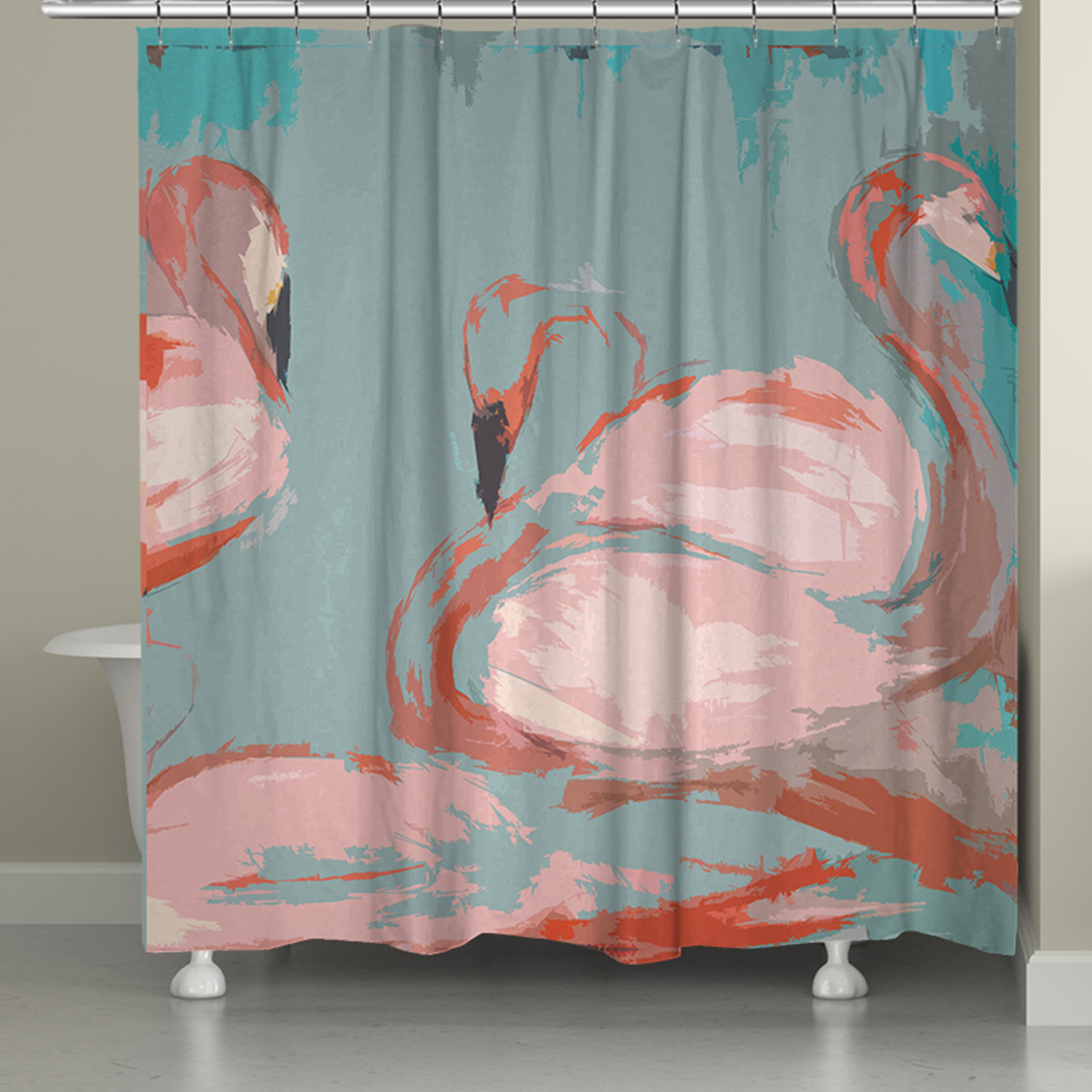 laural home pink flamingos shower curtain 71 inch x 74 inch