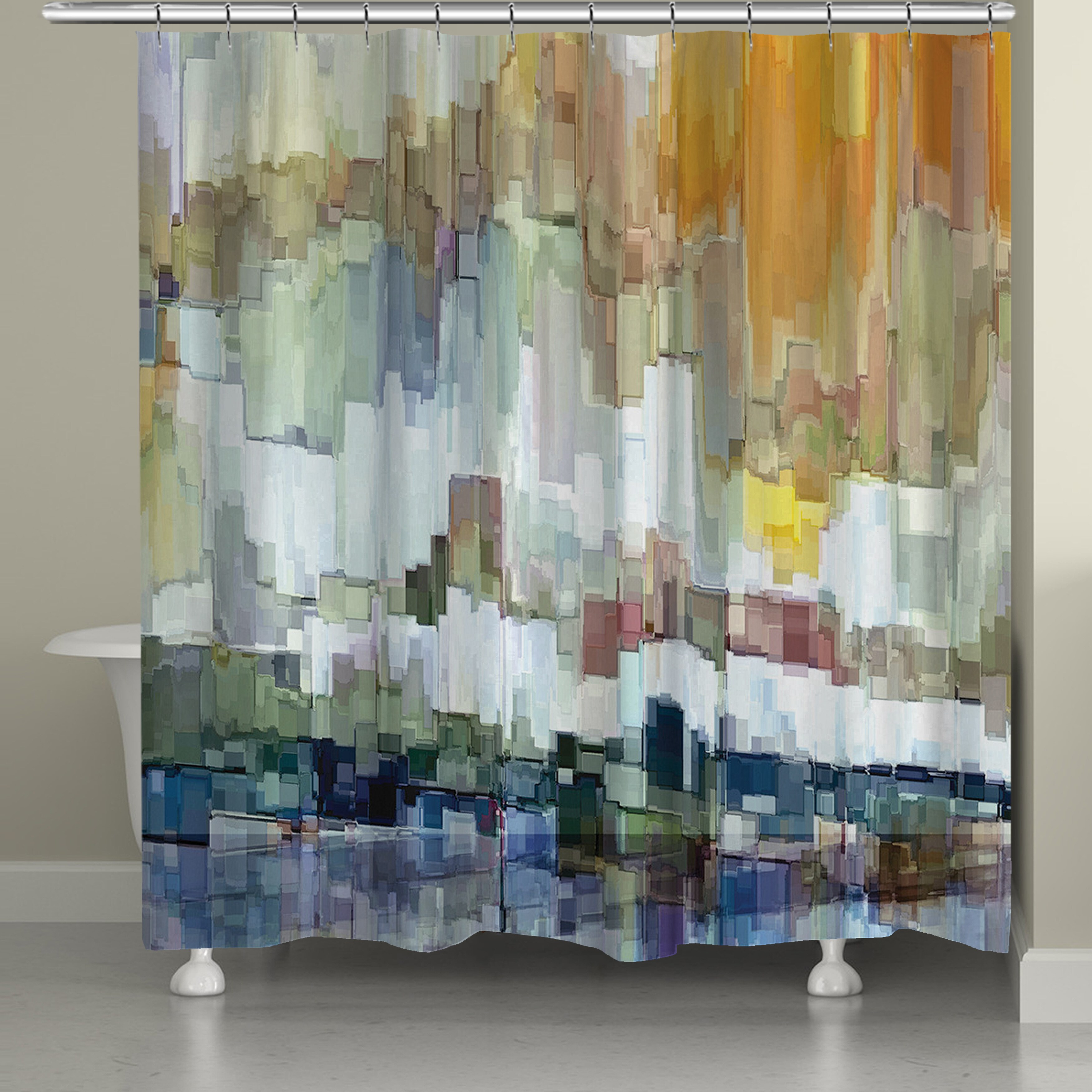 laural home abstract brushstrokes shower curtain 71 inch x 74 inch