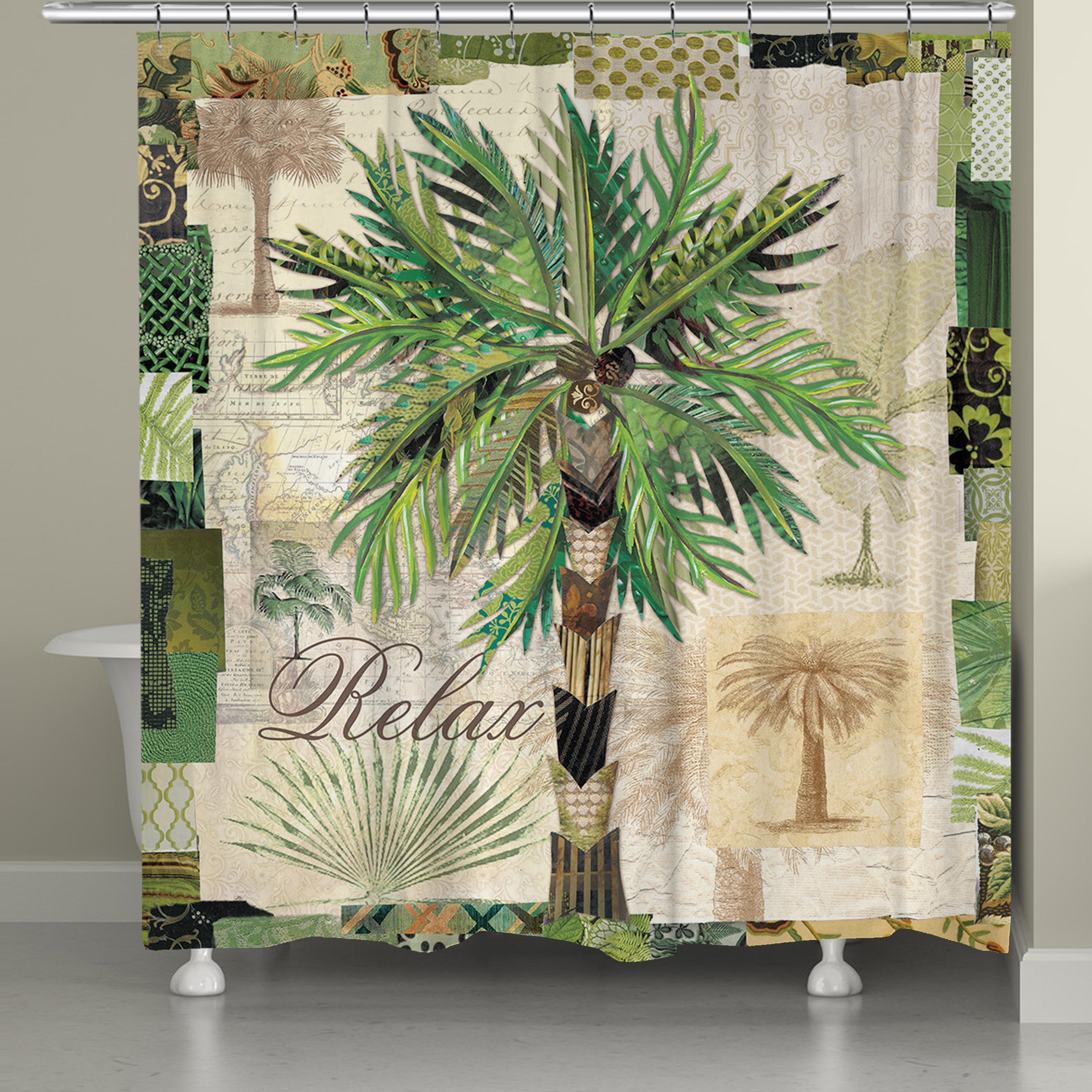 laural home palm beauty 71 x 72 inch shower curtain