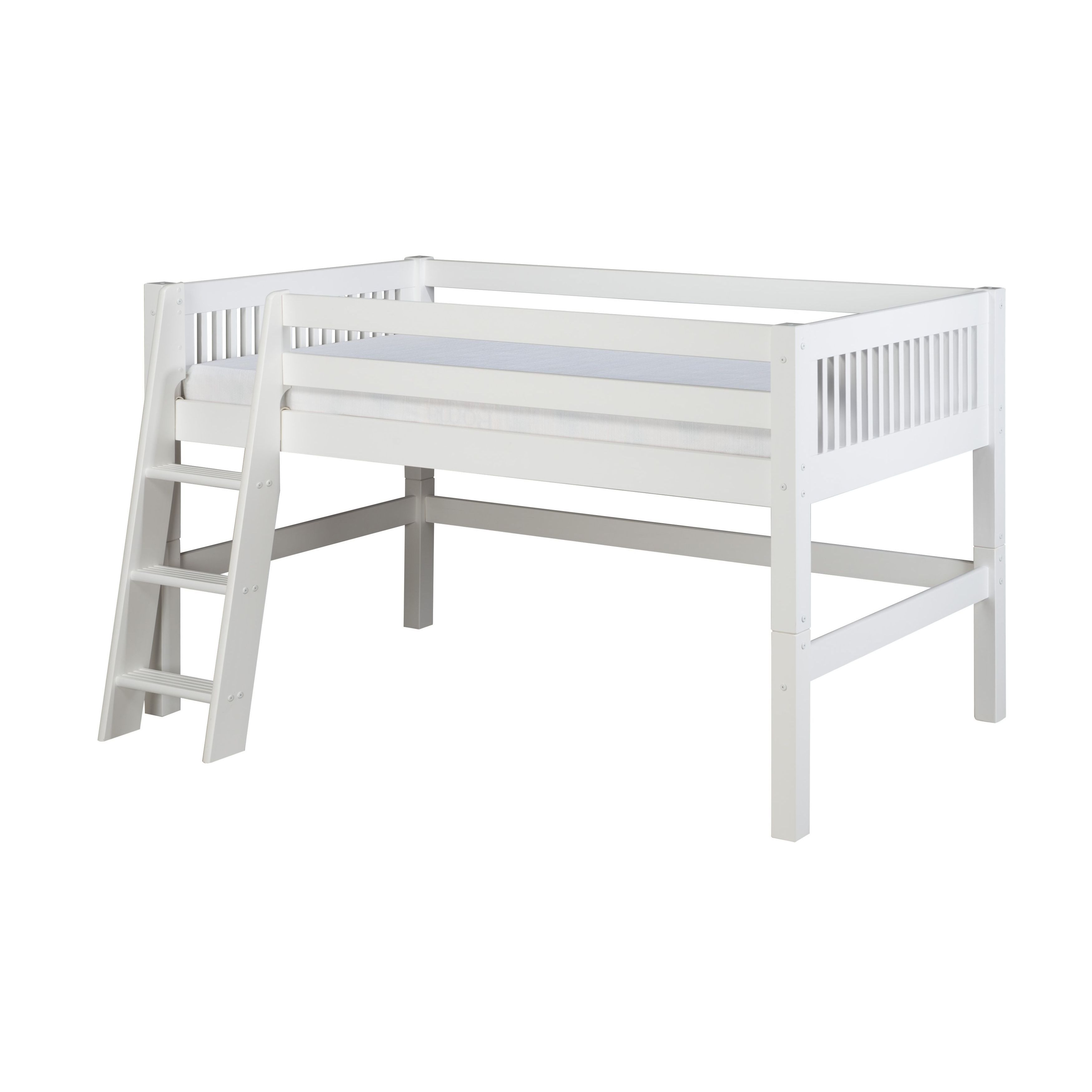 Camaflexi Twin Size White Finish Low Loft Bed With Mission Headboard Overstock 10734509