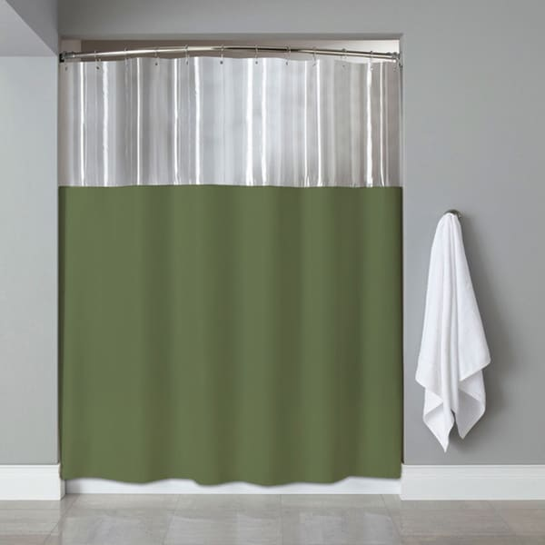 Shop Anti Bacterial Microbial Mildew Resistant See Through Top Clear Sage Shower Curtain