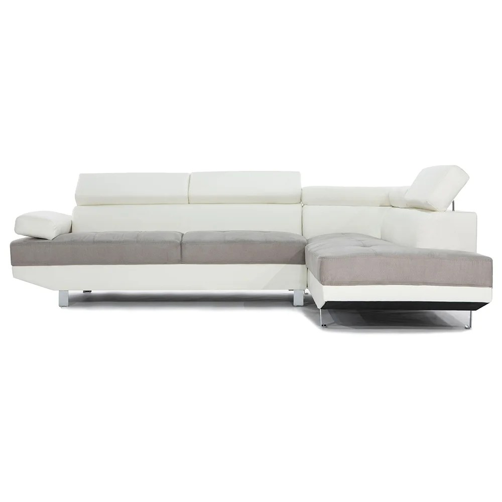 modern contemporary 2 tone microfiber bonded leather sectional sofa