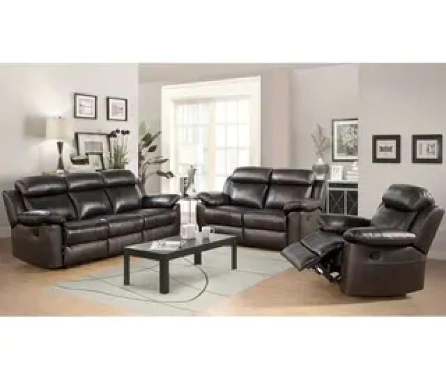 Abbyson Braylen  Piece Top Grain Leather Reclining Living Room Sofa Set