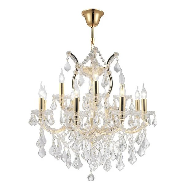 Maria Theresa Grand 13 Light Gold Finish Victorian Crystal 2 Tier Large Chandelier