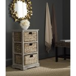 Details About Wicker Side End Table Nightstand Distressed Grey Bedside Wood Accent Furniture