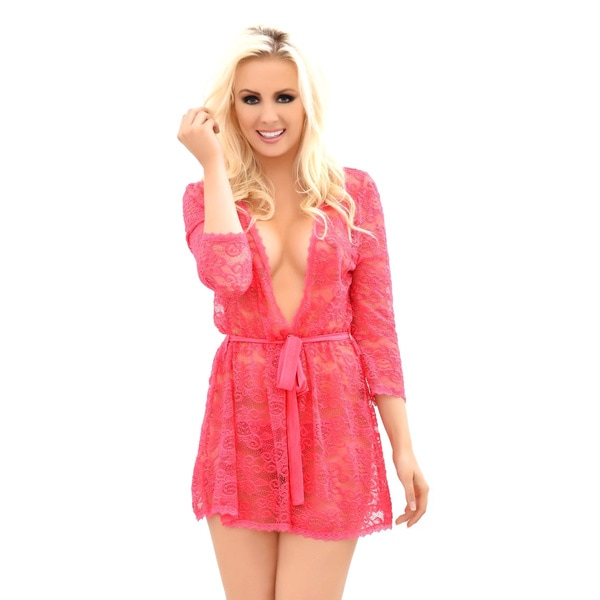 Popsi Lingerie Womens Provocative Lace Robe With Matching