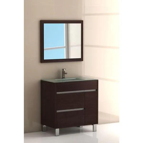 eviva tauro 32 inch wenge dark brown modern bathroom vanity set with integrated white porcelain sink