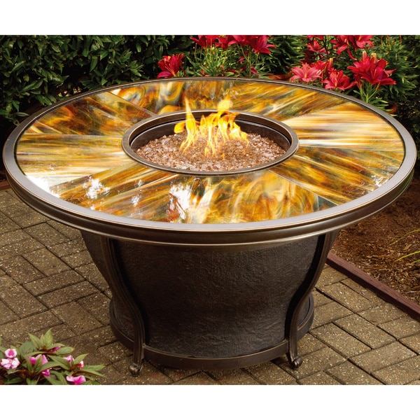 Shop Premium Sunlight Fiberglass Round Gas Fire Pit Table With Cover Free Shipping Today