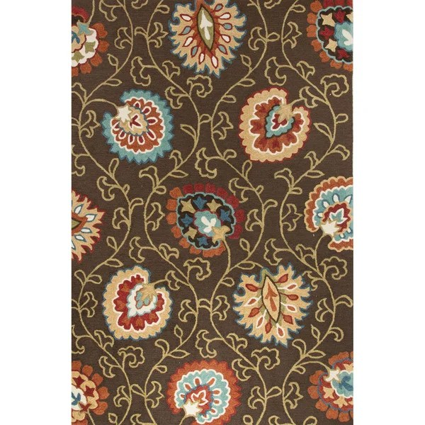 Shop Contemporary Floral Amp Leaves Pattern BrownOrange Polyester Area Rug 5 X 76 Free