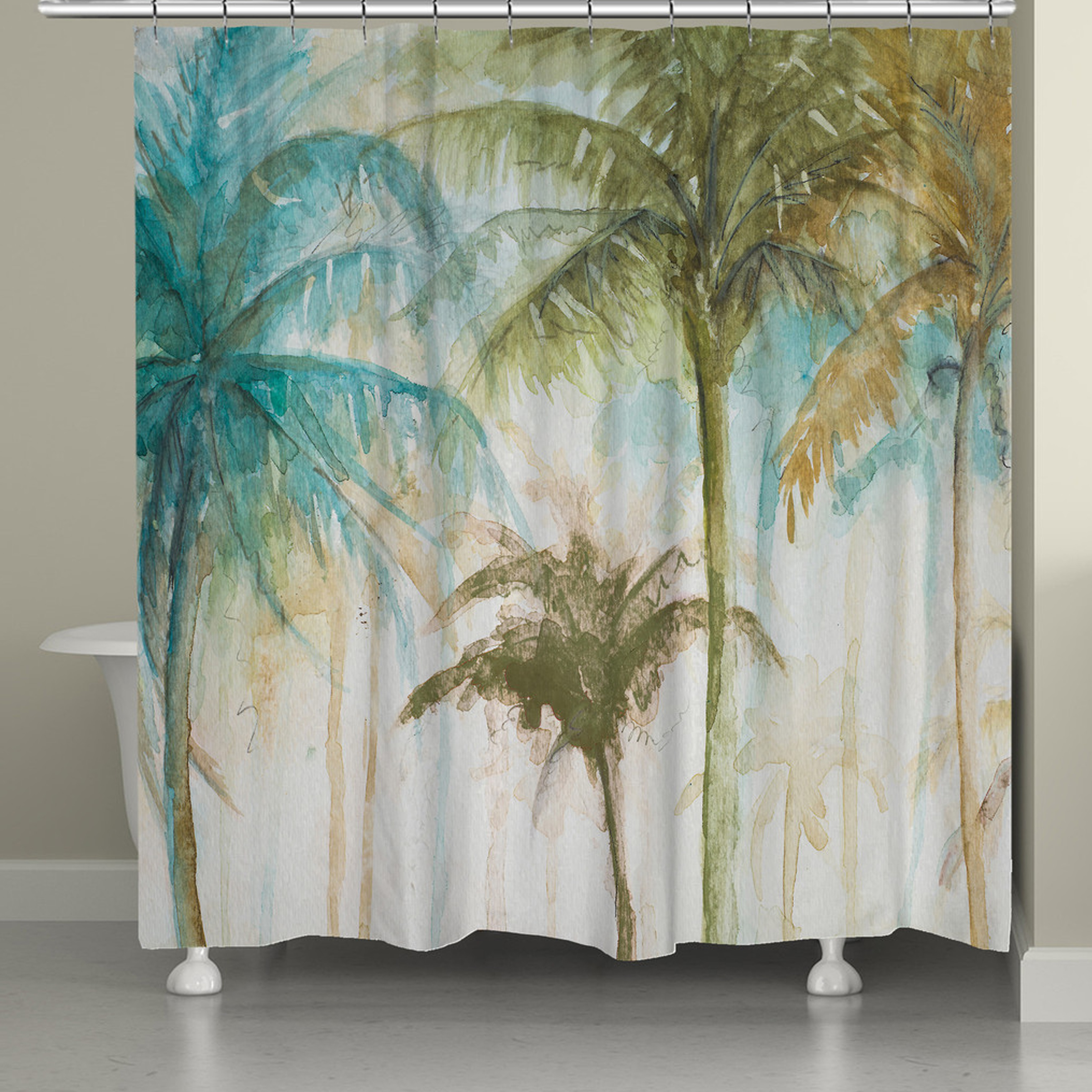 laural home watercolor palm trees shower curtain