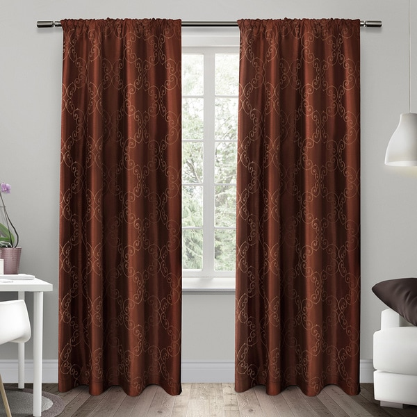 ATI Home Como Embroidered Rod Pocket Window Curtain 84 96 Inch Length Panel Pair Free